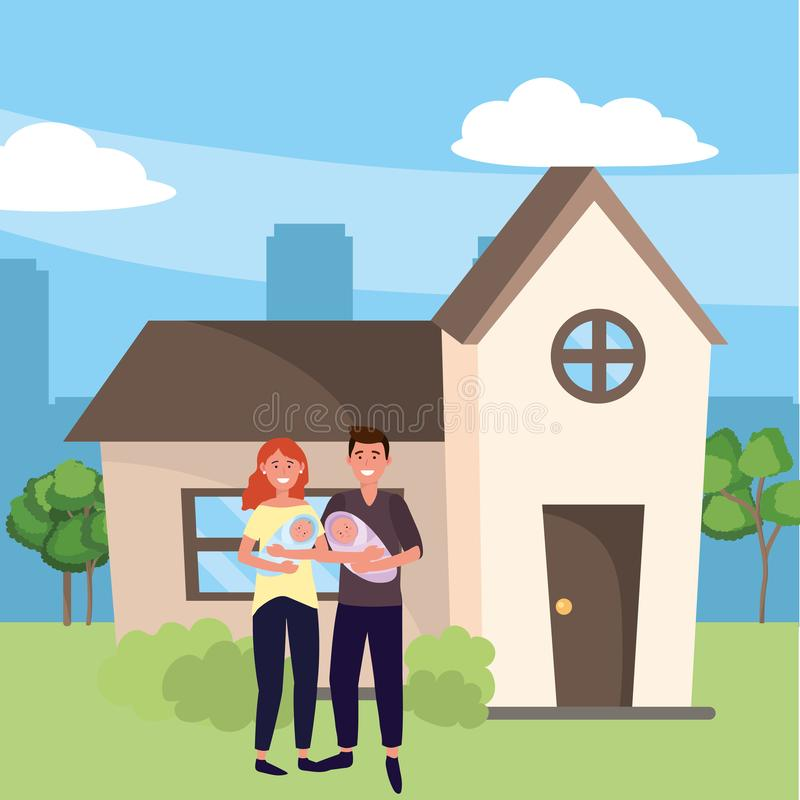 Family baby care cartoon. Family baby care couple with babies at urban big house home cartoon vector illustration graphic design vector illustration