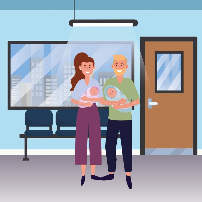 Family baby care cartoon. Family baby care couple woman with man and babies at medical hospital room cartoon vector illustration graphic design vector illustration