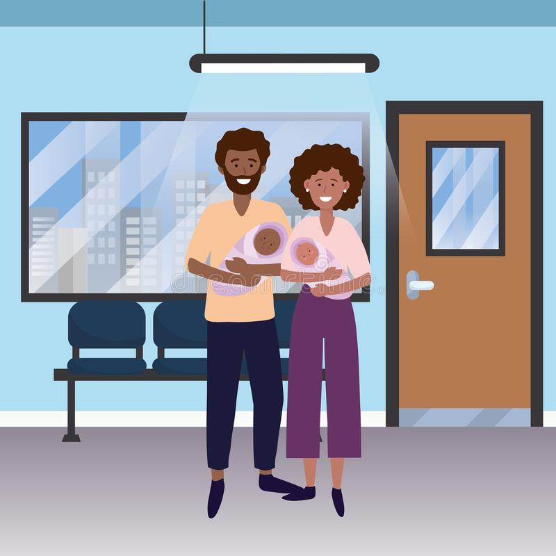 Family baby care cartoon. Family baby care couple woman with man and babies at medical hospital room cartoon vector illustration graphic design stock illustration
