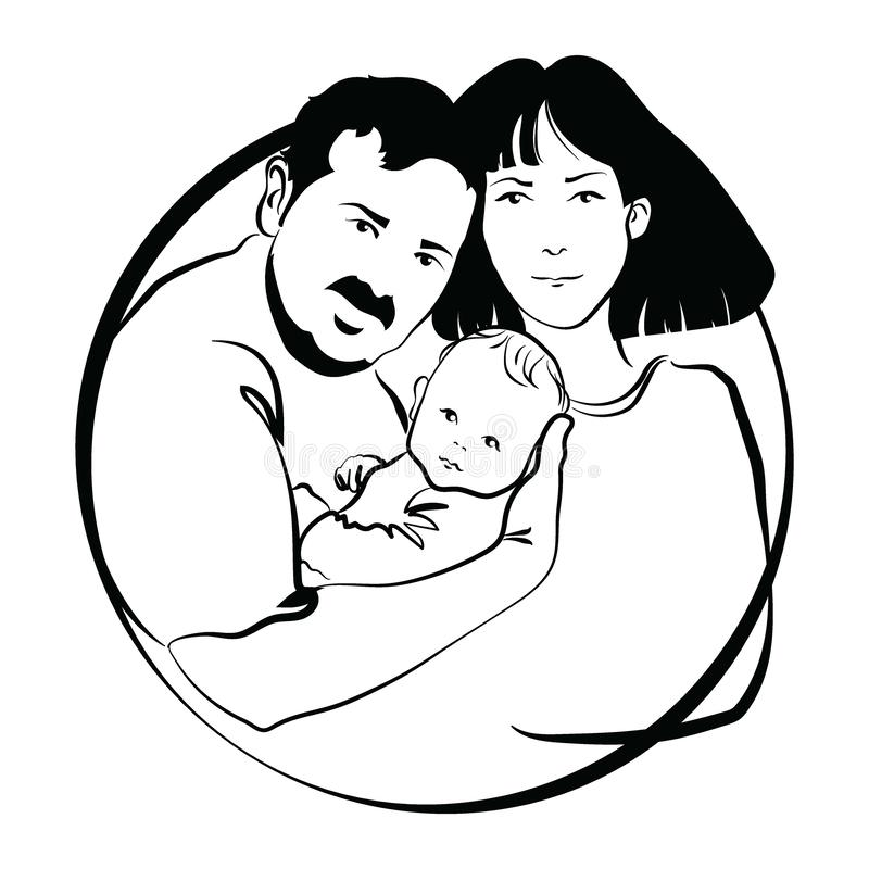 Family With Baby Father And Mother Hug Their Child Black And White Logo Of A Young Family Linear Art Tattoo Stock Vector Illustration Of Child Father 158059171
