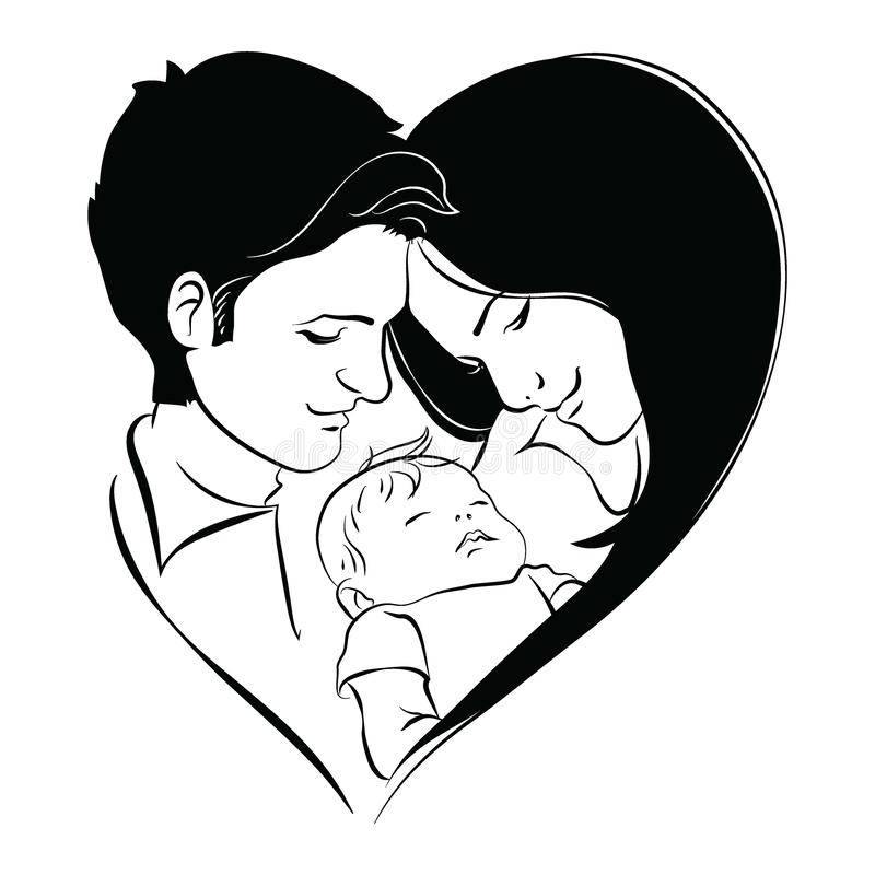 Family With Baby Father And Mother Hug Their Child Black And White Logo Of A Young Family Linear Art Tattoo Stock Vector Illustration Of Baby Child 158059116