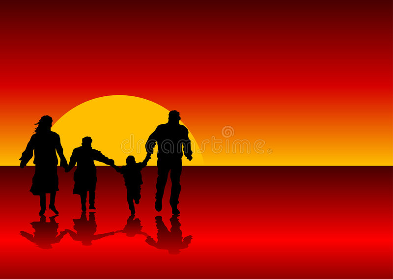 Family background. Abstract silhouette vector of a family holding hands