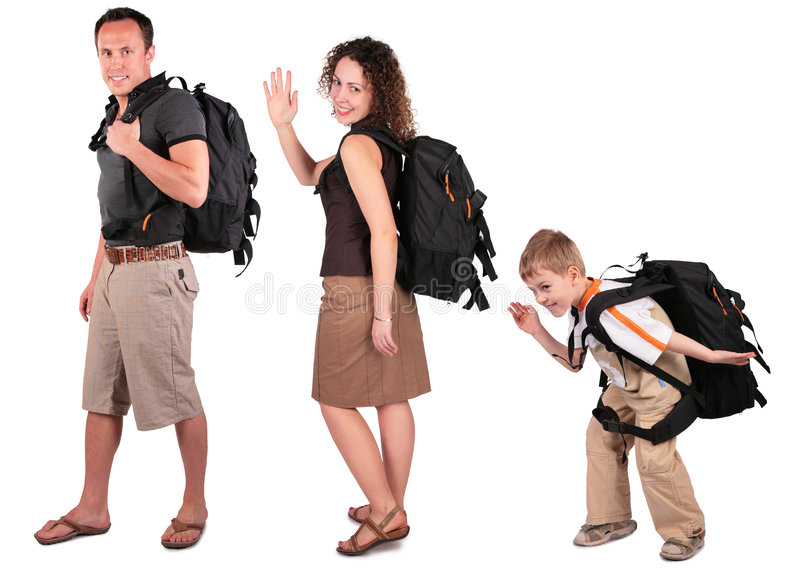 Family with backpacks royalty free stock photos
