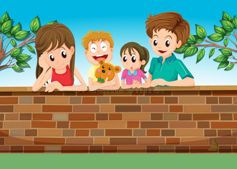 A family at the backyard. Illustration of a family at the backyard stock illustration