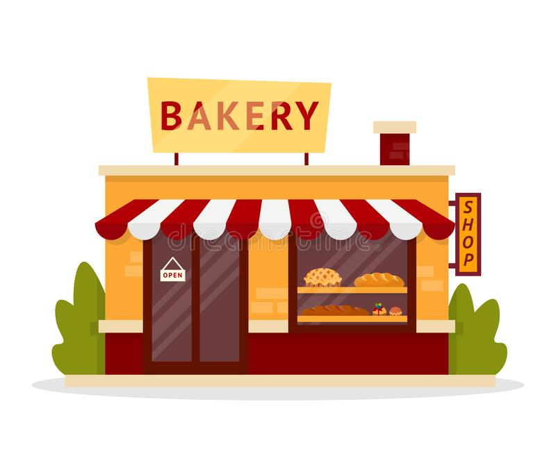 Family bakery facade flat illustration vector illustration