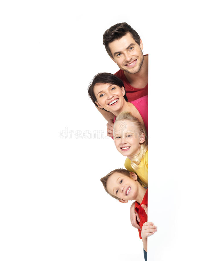 Family with a banner. Smiling - isolated on a white background