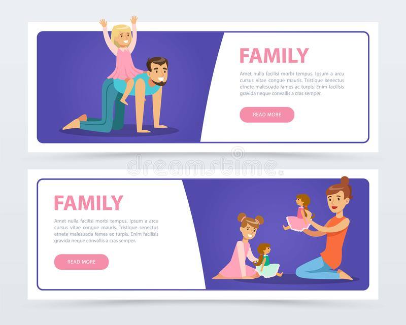 Family banners set, happy parents playing and having fun with their kids flat vector element for website or mobile app royalty free illustration
