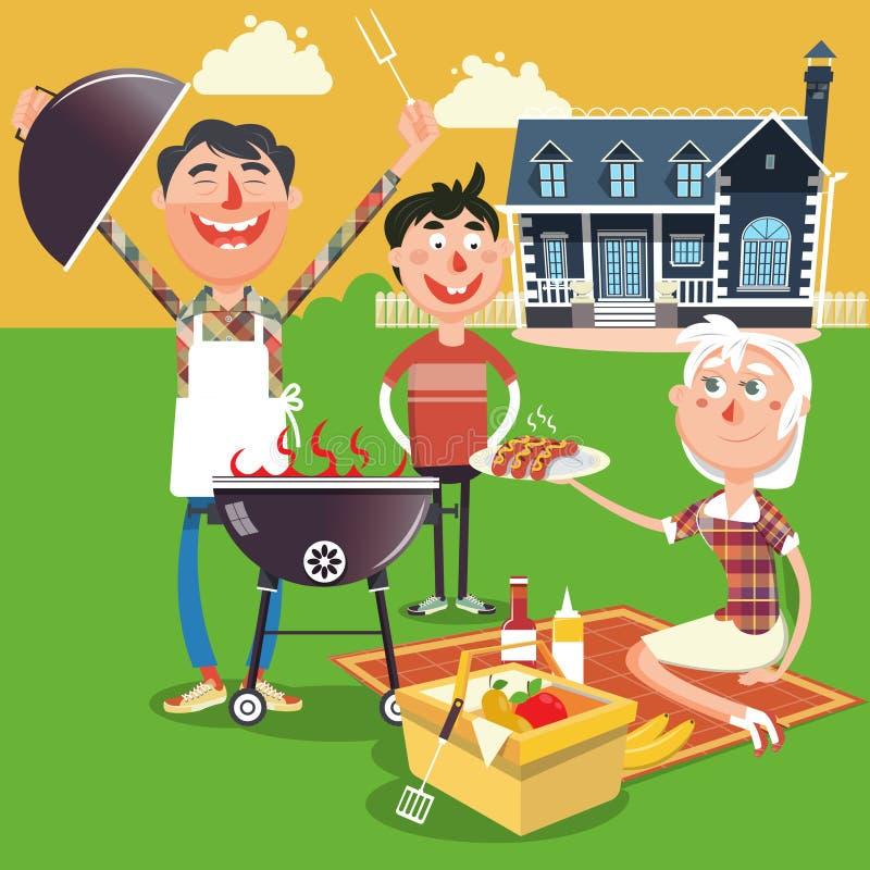 Family barbecue picnic cartoon vector illustration royalty free illustration