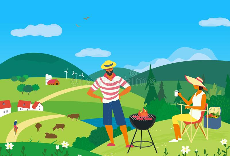 Summer family picnic. Family barbecue picnic. Summer outdoors concept. Cartoon colorful poster. Season holiday leisure banner background. Mountain valley in vector illustration