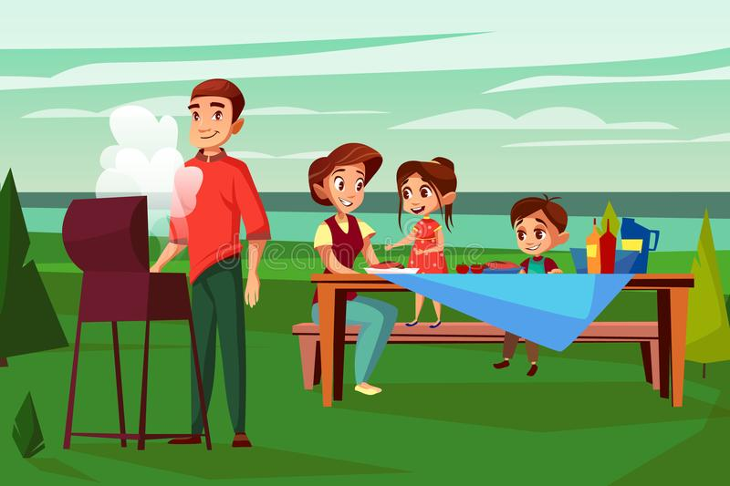 Family barbecue picnic vector cartoon illustration. Family at barbecue picnic vector illustration. Cartoon design of father man frying at BBQ grill and mother stock illustration