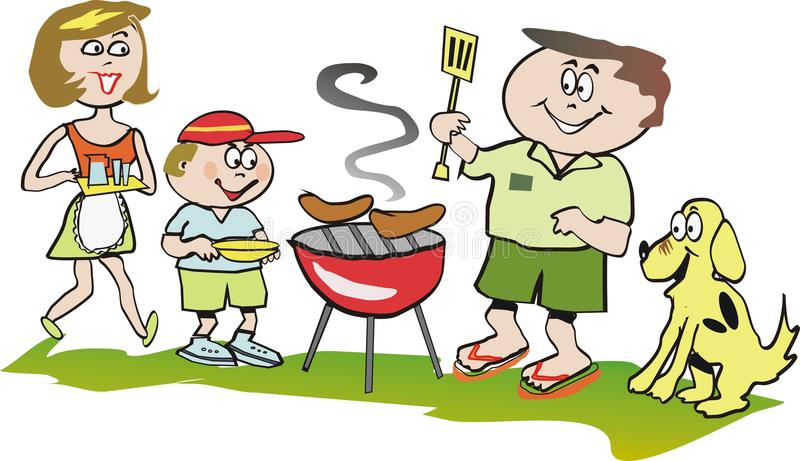 Family barbeque cartoon stock vector. Image of vector ...
