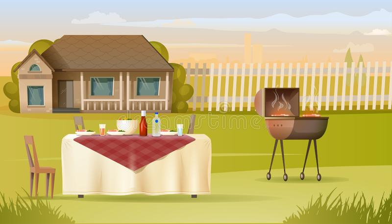 Family Barbeque on Country House Yard Vector. Family Dinner with Barbeque on Country House Yard Cartoon Vector. Dishes with Meat and Salad Standing on Table stock illustration