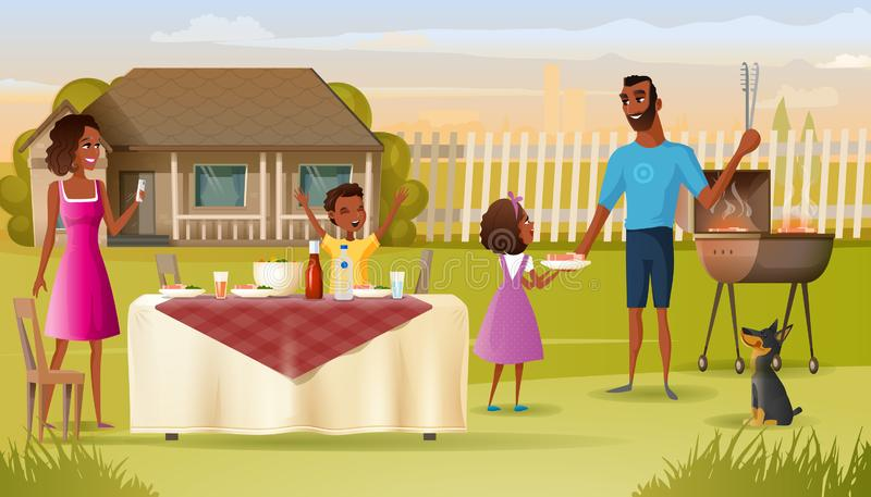 Family Barbeque Party on House Yard Cartoon Vector. Happy African-American Family Grill Party in Countryside Cartoon Vector. Father with Daughter Cooking Meat on vector illustration