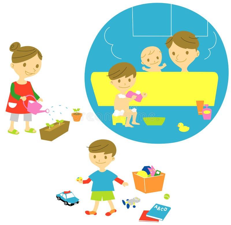 Family bath,watering,playing. Kid royalty free illustration