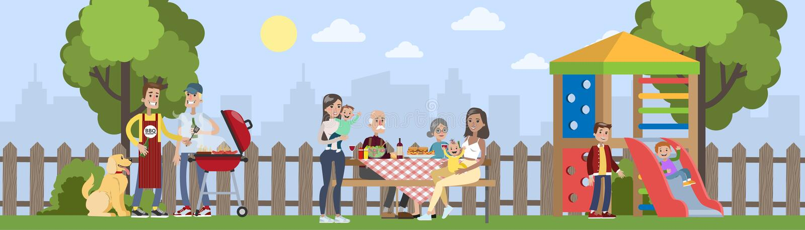 Family on BBQ party on the backyard royalty free illustration