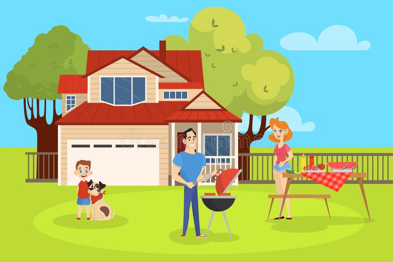 Family on BBQ party on the backyard. Of the house smiling and eating. Cooking tasty barbeque on grill. Vector illustration in cartoon style vector illustration
