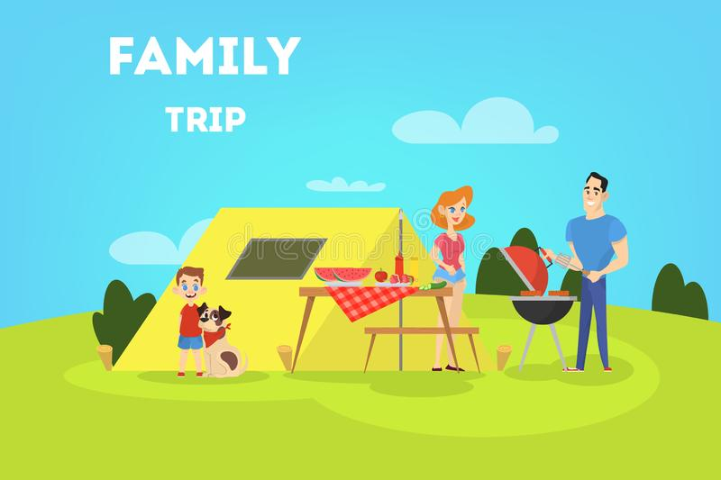 Family on BBQ party on the backyard. Family on BBQ party with tent smiling and eating. Cooking tasty barbeque on grill. Vector illustration in cartoon style royalty free illustration