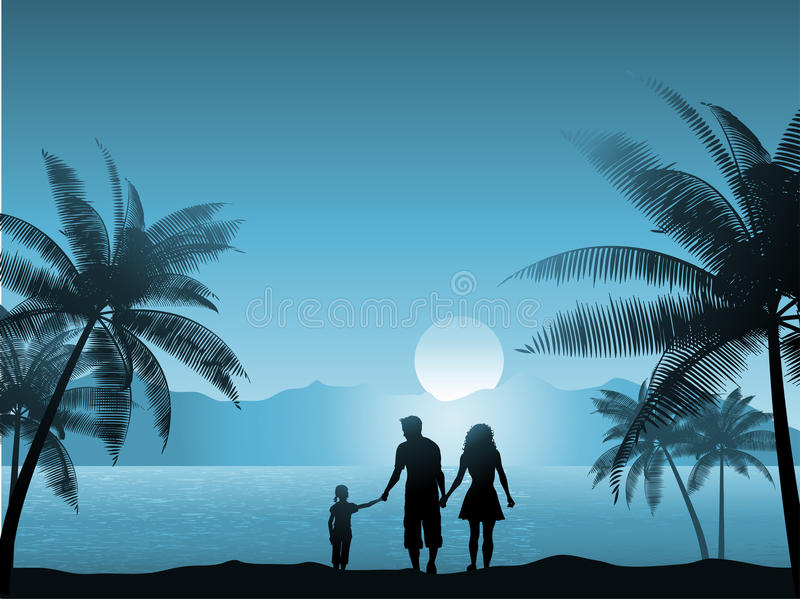 Family on beach. Family walking on the beach at night royalty free illustration