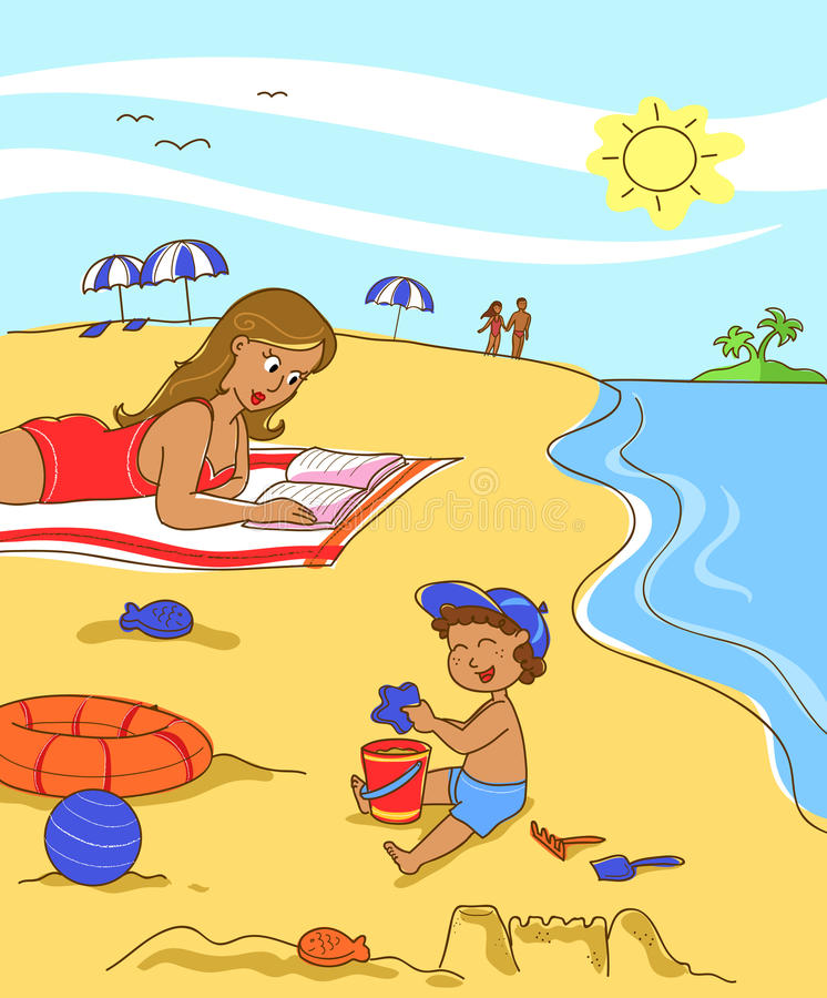 Mother and son on holiday royalty free illustration
