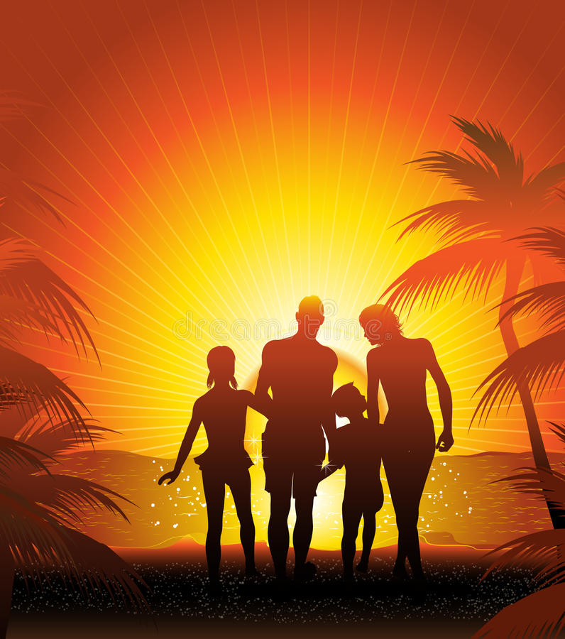 Download Family on the beach stock illustration. Illustration of holiday - 25160715