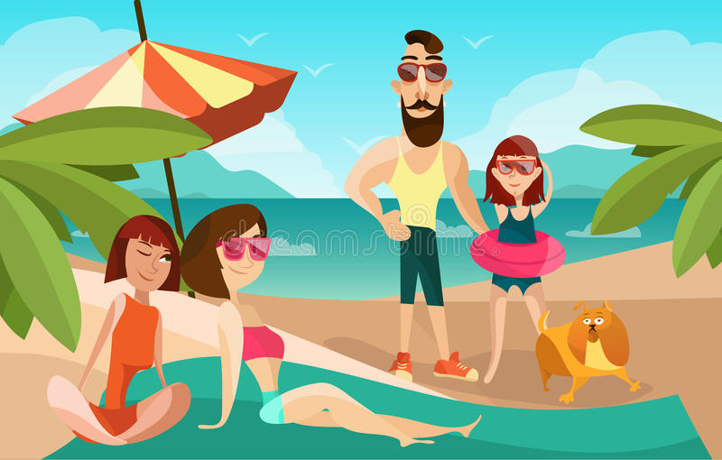 Family on a beach cartoon vector illustration. Summer vacation concept poster in cartoon style. People characters and stock illustration