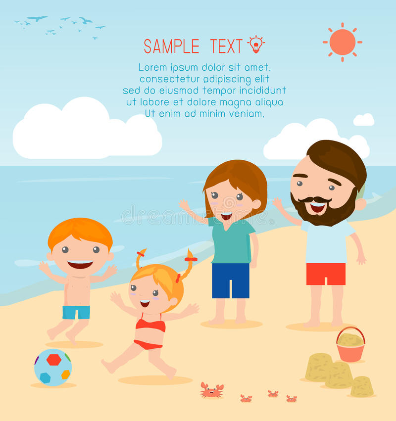 A family at the beach. Family on the beach stock illustration