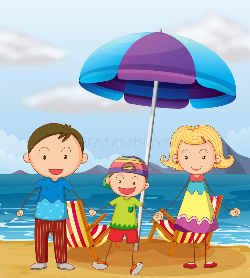 A family at the beach royalty free illustration