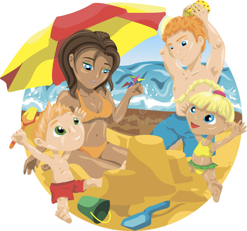 Family on the beach royalty free illustration