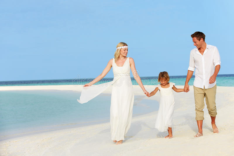 Family At Beautiful Beach Wedding. Holding Hands royalty free stock photos