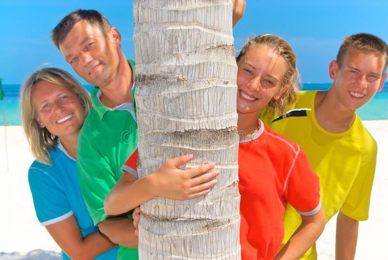 Family behind palm tree royalty free stock photo