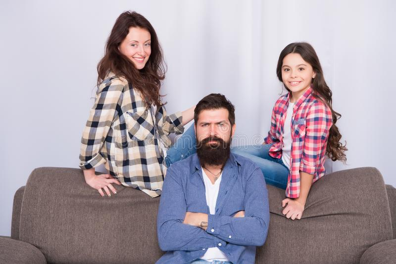 Family is Best. Bearded man and woman with daughter. Little girl love her parents. Childrens day. Father, mother and. Family is Best. Bearded men and women with royalty free stock photography