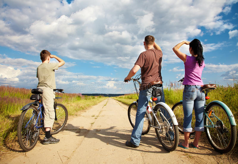 Family on bicycle ride stock photo