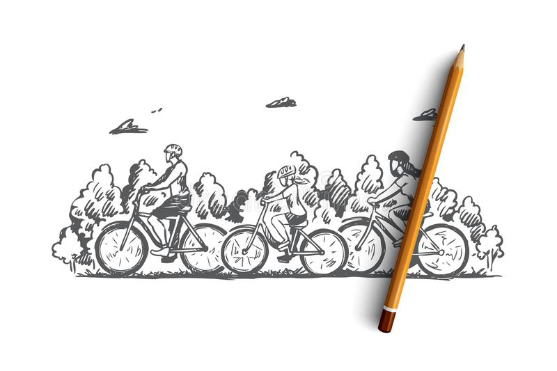 Family, bicycle, sport, activity, together concept. Hand drawn isolated vector. Family, bicycle, sport, activity, together concept. Hand drawn family with kids royalty free illustration