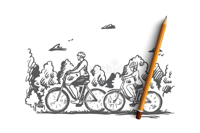Family, bicycle, sport, happy, lifestyle concept. Hand drawn isolated vector. Family, bicycle, sport, happy, lifestyle concept. Hand drawn family walking with stock illustration