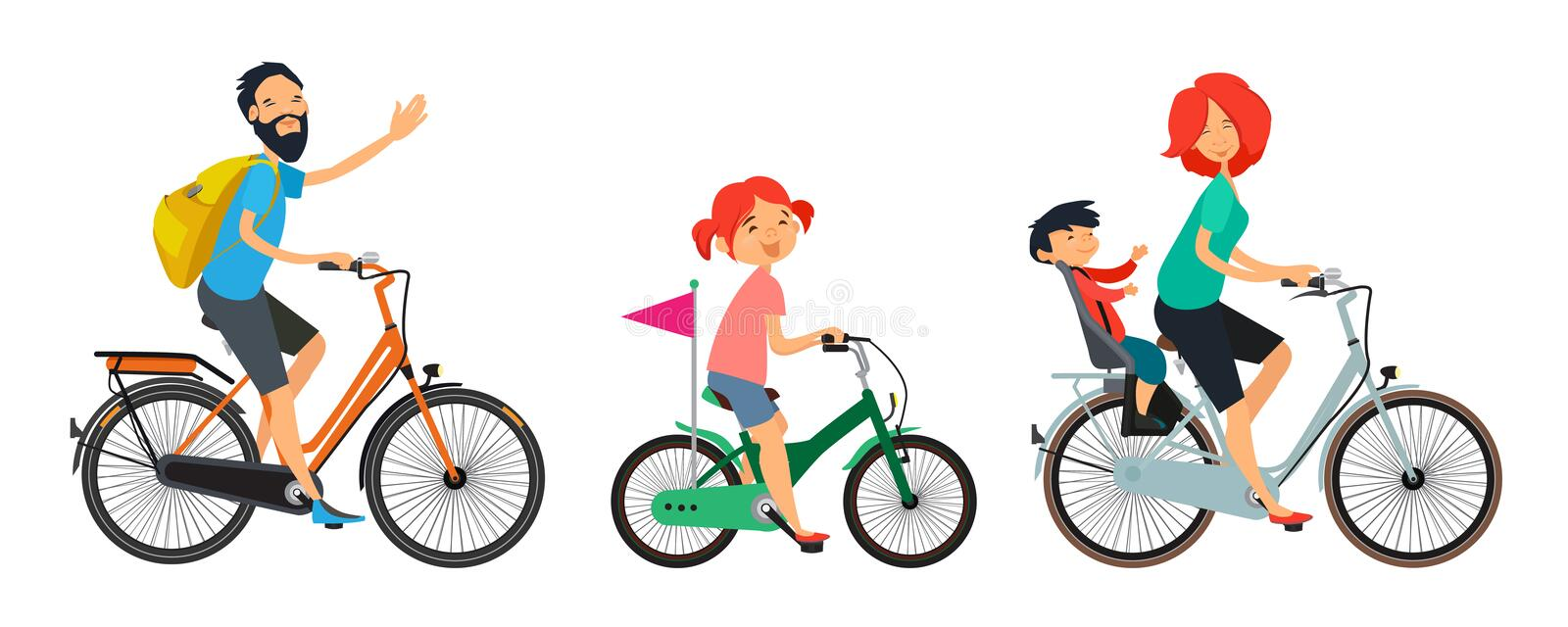 Family on bicycles walk. Male and female riding on bike royalty free illustration