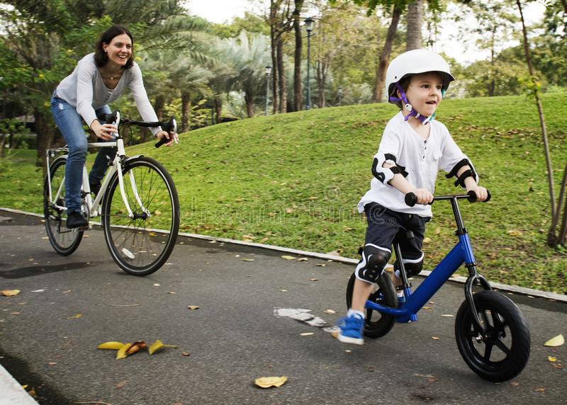 Family Bicycling Holiday Weekend Activity stock images