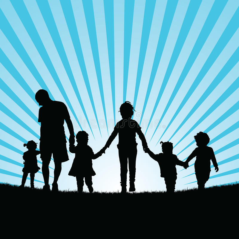 family big with children enjou in nature silhouette color illustration royalty free illustration