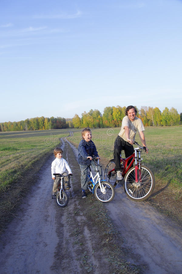 Family On Bike Stock Photo