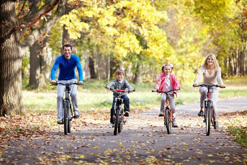 Family on bikes royalty free stock photo