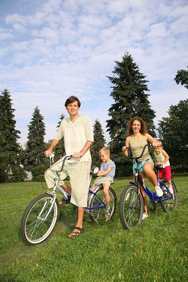 Family With Bikes Stock Photo