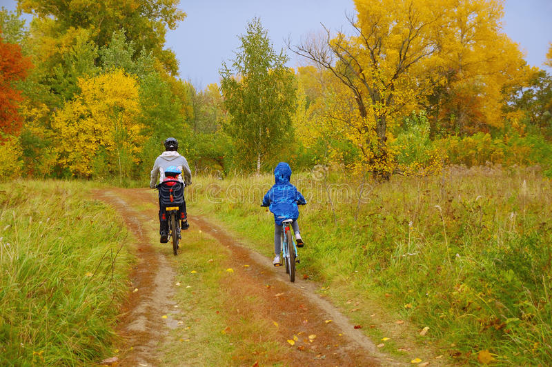 Family on bikes in golden autumn park, father and kids cycling on trail, active sport with children stock photos