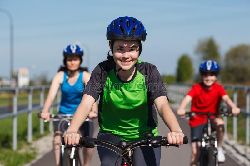 Family biking royalty free stock image