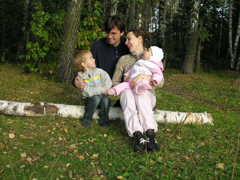 Download Family on birch stock photo. Image of season, daddy, father - 260030