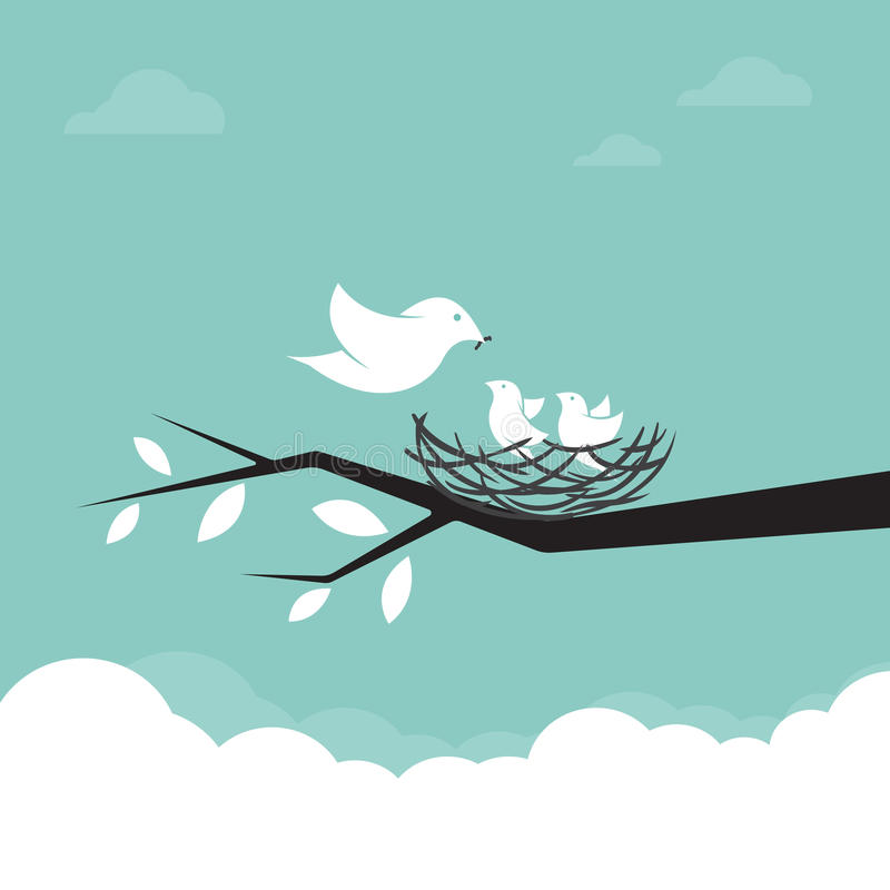 Family of birds that are feeding the baby stock illustration