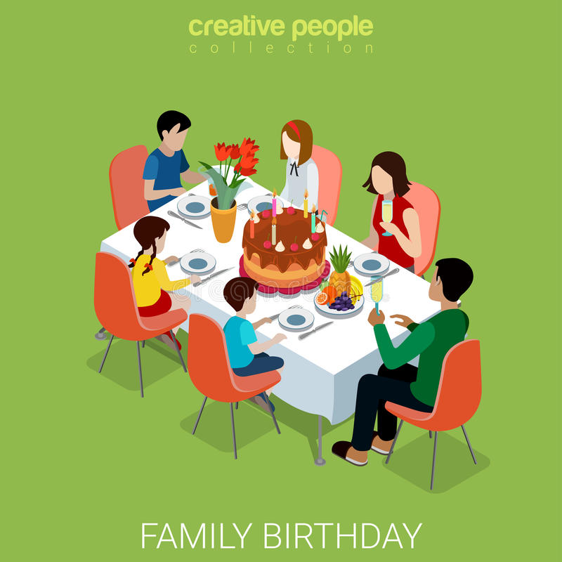 Family Birthday Celebration Dinner Flat Isometric Vector