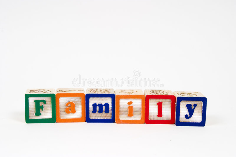 Family in block letters stock photo