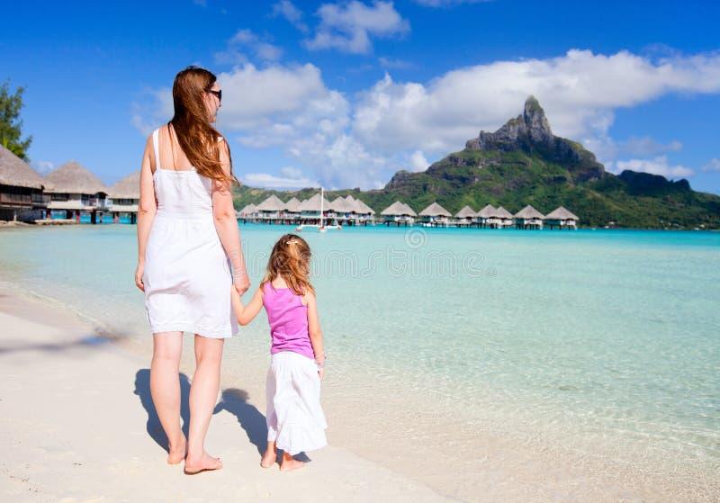 Family On Bora Bora Vacation Stock Image