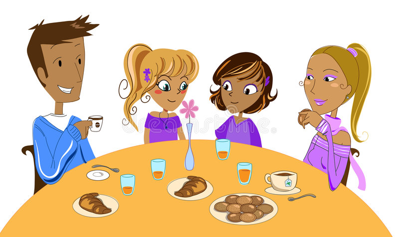 Download Family at breakfast stock vector. Image of daughters, girls - 6397924
