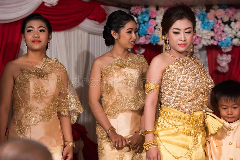 Family of bride and groom posing for picture during the wedding. Kampot 07 july 2018, Cambodia royalty free stock photo
