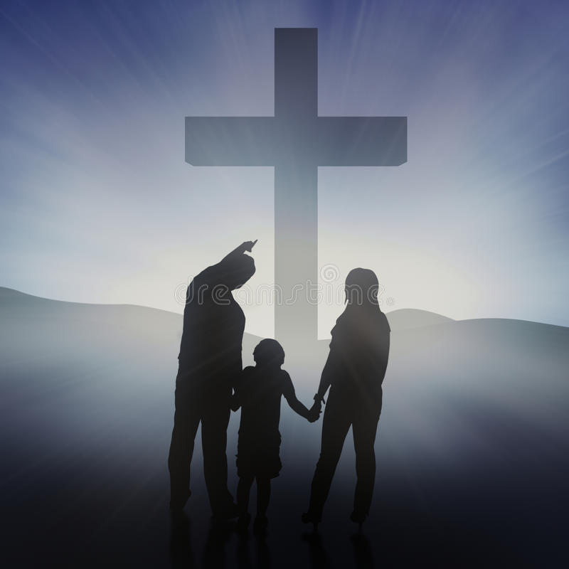 Family At The Bright Cross Stock Photography